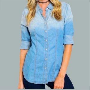 Blue Ombré Rollover sleeve Tunic Top